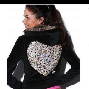 Black Velour Jacket with Fur Hood and Sequin Back